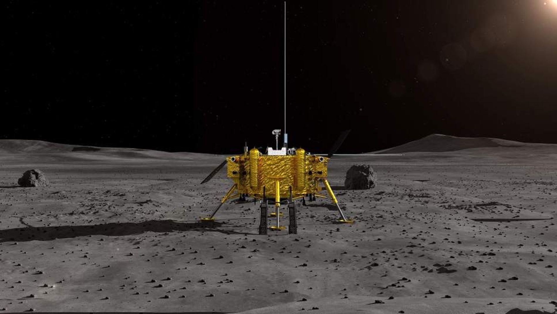 Representação da sonda lunar Chang'e-4, da China. A espaçonave é a primeira a pousar no 'lado ...