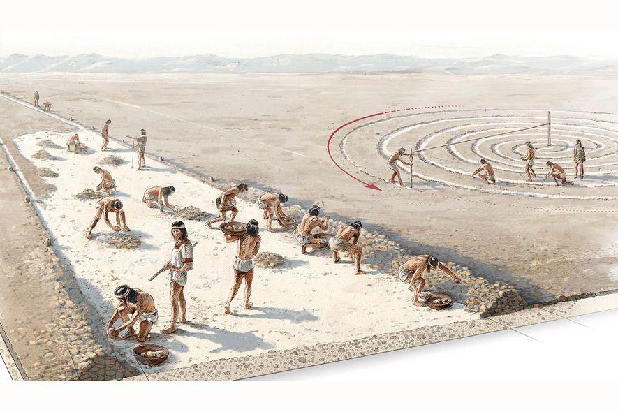 Ilustração mostra como peruanos antigos no deserto criavam as chamadas linhas de Nasca