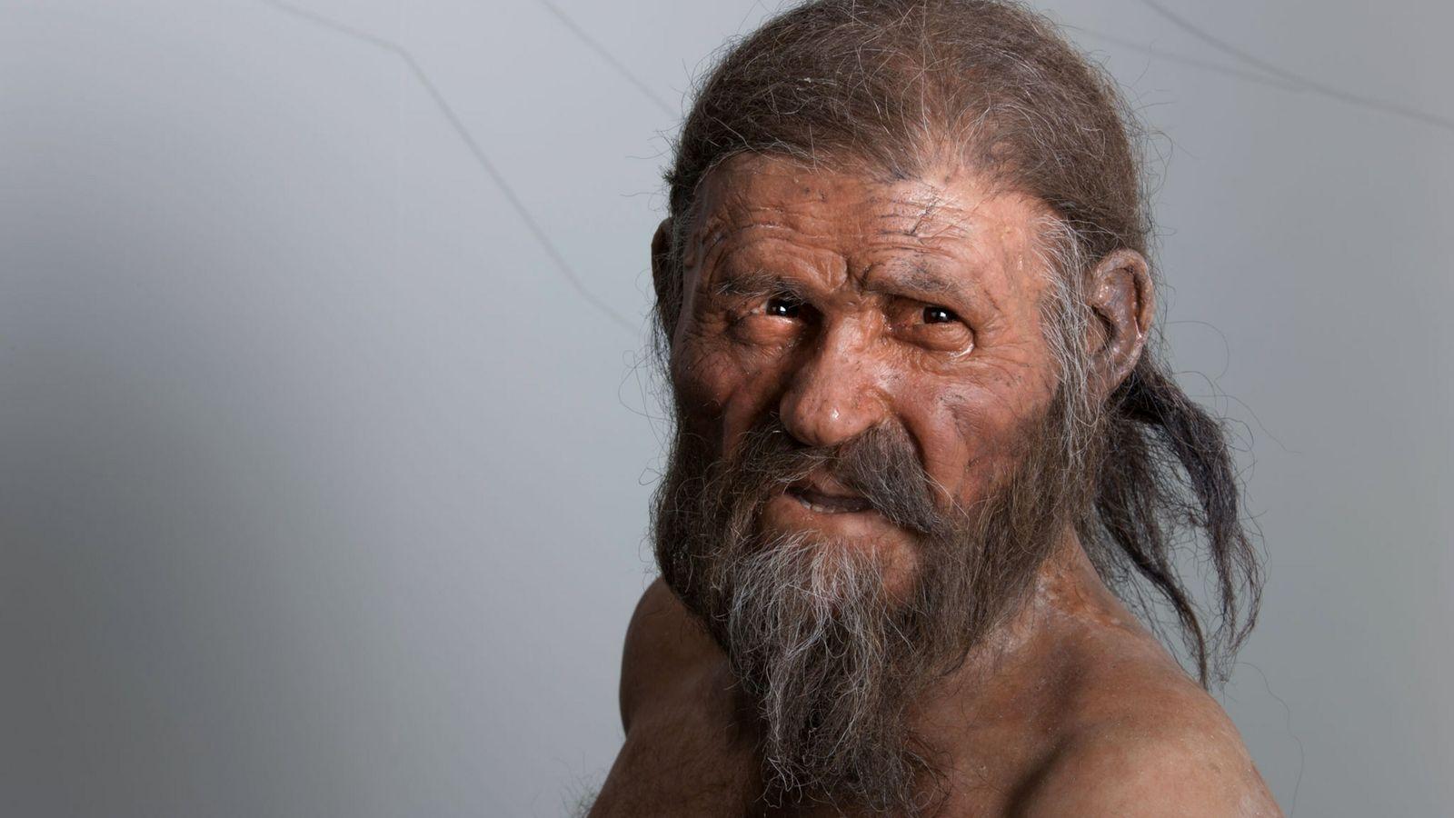foto de reconstrução do rosto de otzi o homem de gelo