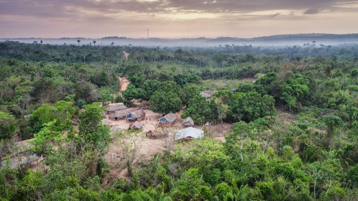 A visão aérea do Posto Awá mostra um dos quatro assentamentos fundados pela Funai em três ...
