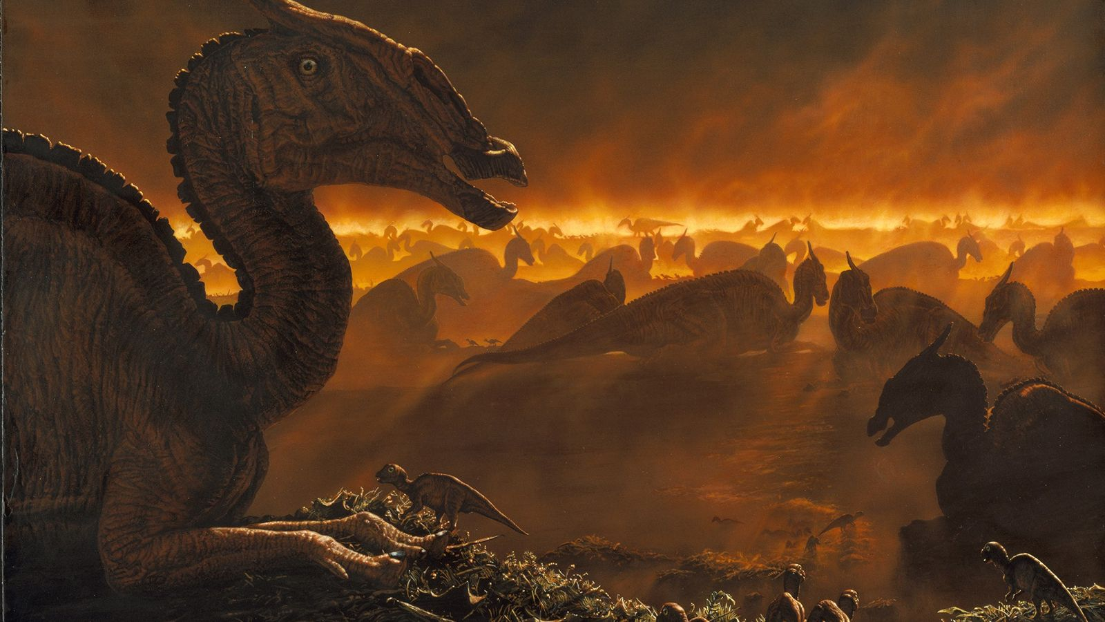 Saurolophus da Mongólia se reúnem no amanhecer em meio ao nevoeiro, conforme exibido em uma pintura. ...