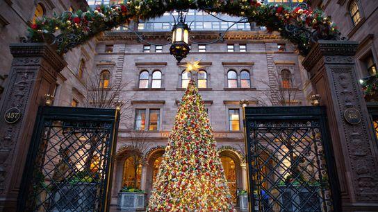 fotografia de luzes de natal em nova york