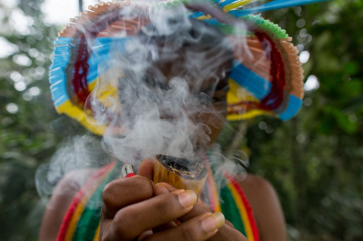 pataxo fuma cachimbo timbeiro