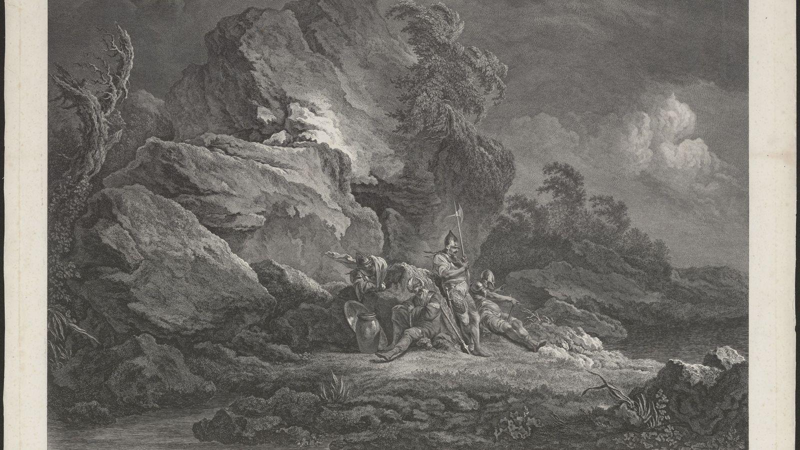 Uma gravura de 1778 mostra quatro mercenários suíços — alguns dos primeiros indivíduos que figuraram na ...