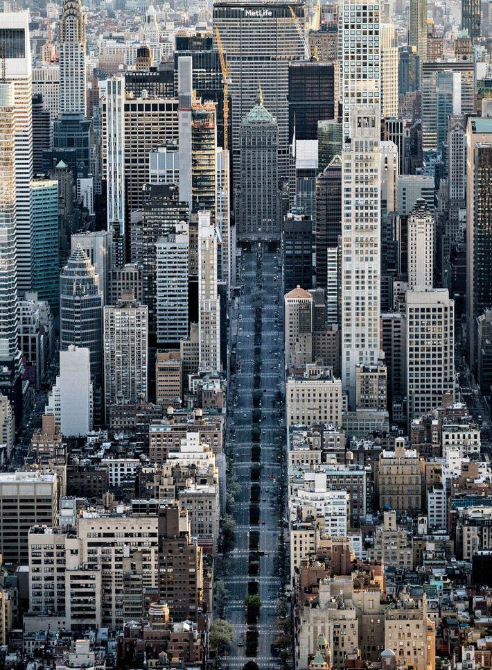A Park Avenue, em Nova York, praticamente deserta – quando normalmente está repleta de táxis amarelos, ...
