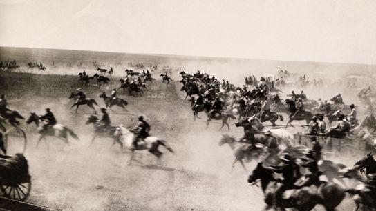 Colonizadores correm para reivindicar terras em Oklahoma em 16 de setembro de 1893.