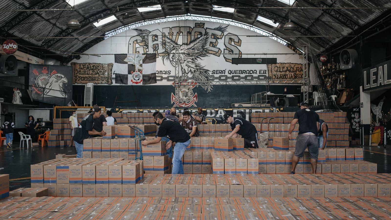O galpão sede da Gaviões da Fiel, no Bom Retiro, bairro na zona central de São Paulo, ...