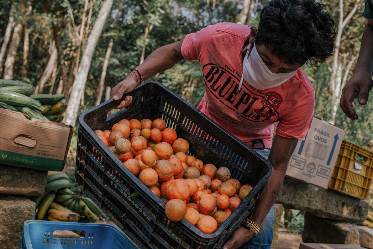 Guaranis recebem a entrega quinzenal dos alimentos doados pelo MST na aldeia Itakupe, no Jaraguá.