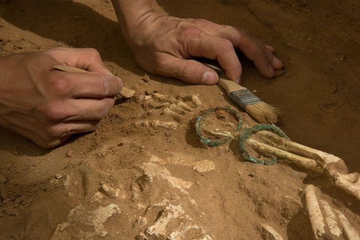 Novo estudo de DNA foi inspirado pela descoberta de um antigo cemitério filisteu no sítio arqueológico ...