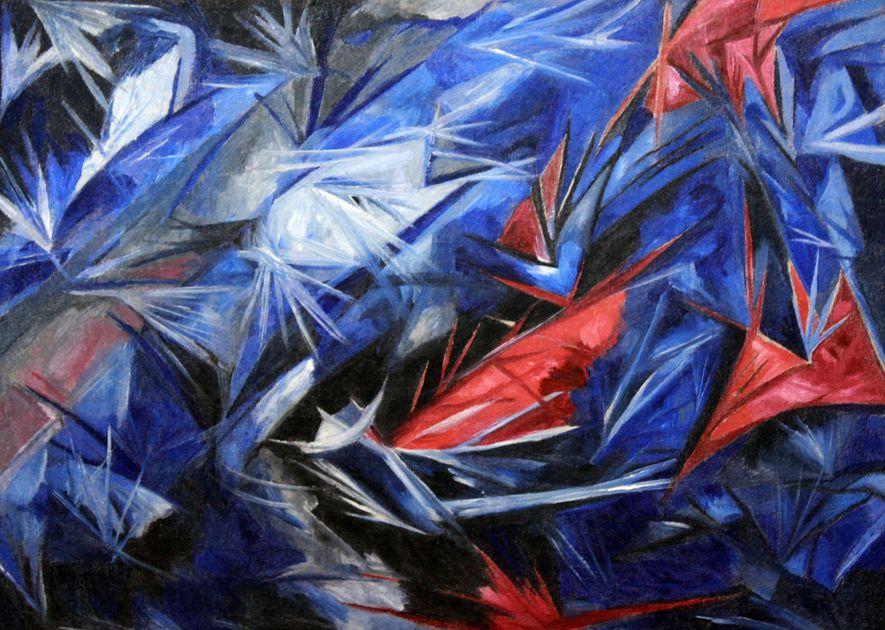 "O ""Rayonistische zee"", de Goncharova, demonstra sua importância no movimento abstrato do aionismo."