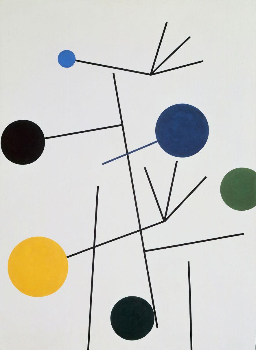 """O trabalho de óleo sobre tela de Taeuber-Arp, """"Rising, Falling, Flying"""", de 1934."""