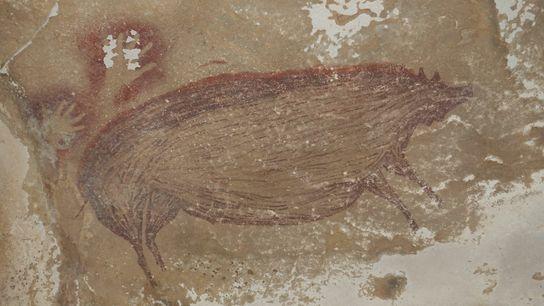 Visivelmente grande, a criatura suína possivelmente representa um alvo de caça para o artista que a pintou na ...