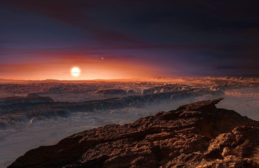Ilustração da luz vermelha da estrela Proxima Centauri iluminando a superfície do planeta Proxima b.