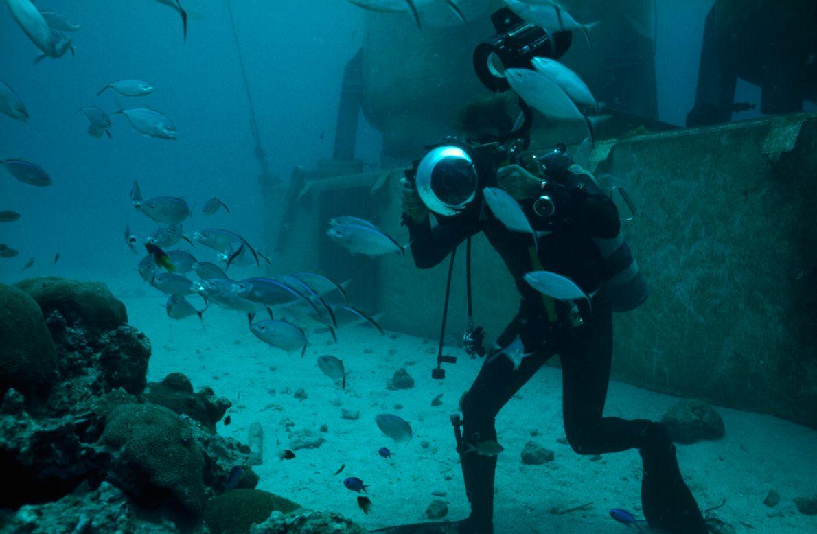 foto subaquática de mergulhador