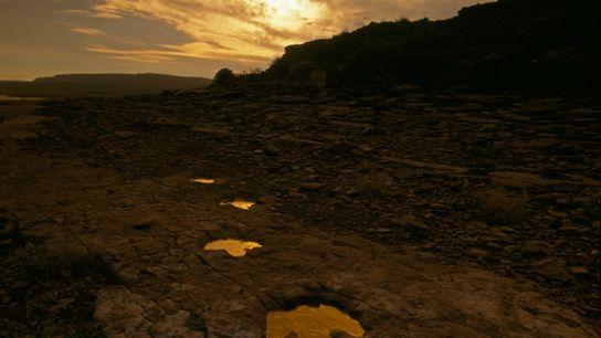 pegadas de dinossauros cheias de água no por do sol