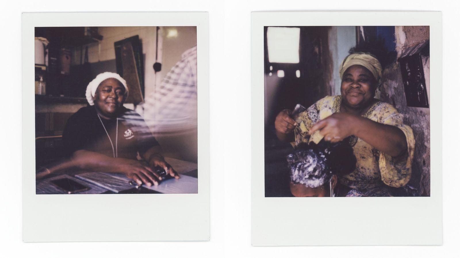 À esquerda: Lulu posa para um retrato no café da Ivete. À direita: Cristiana Chaves, 55 anos, trata do ...