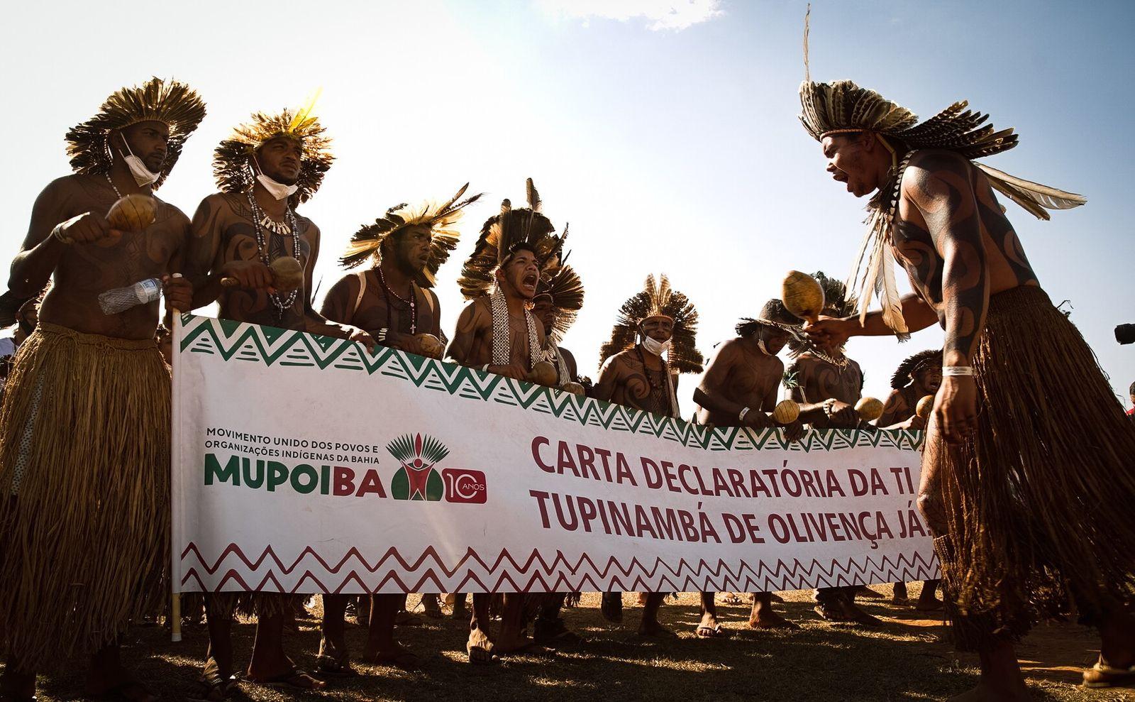 Tupinambá protestam em Brasília em agosto de 2021. Indígenas representando mais de 170 etnias de todo ...