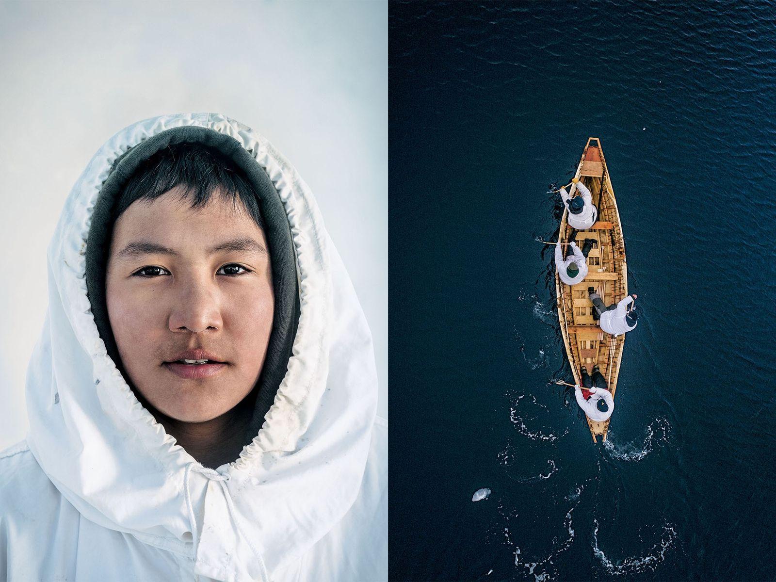 Yugu Alfred Ningeok (à esquerda) é filho de um capitão baleeiro inupiat. Um umiak, ou barco ...
