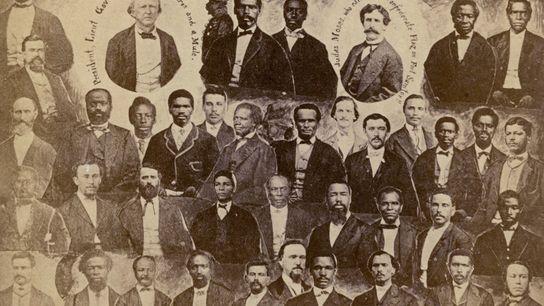 Membros do primeiro poder legislativo da Carolina do Sul após a Guerra Civil. Cerca de dois ...