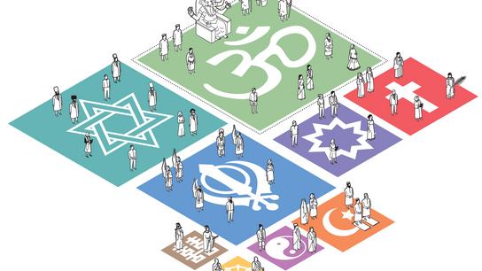 imagem de infográfico proporcional com religiões e datas comemorativas