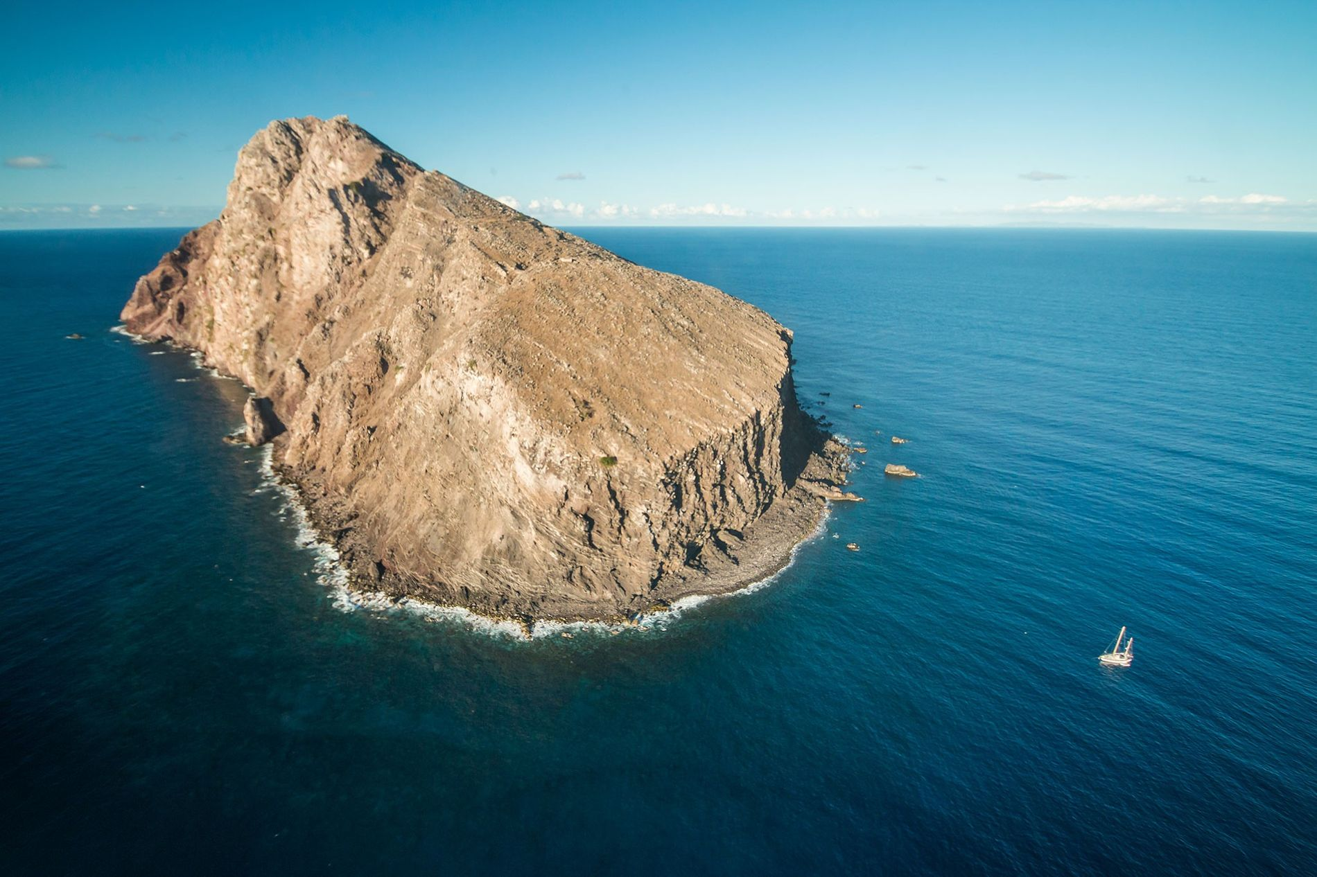 Ilha de Redonda, que já foi tida como destruída por cabras e ratos vorazes.