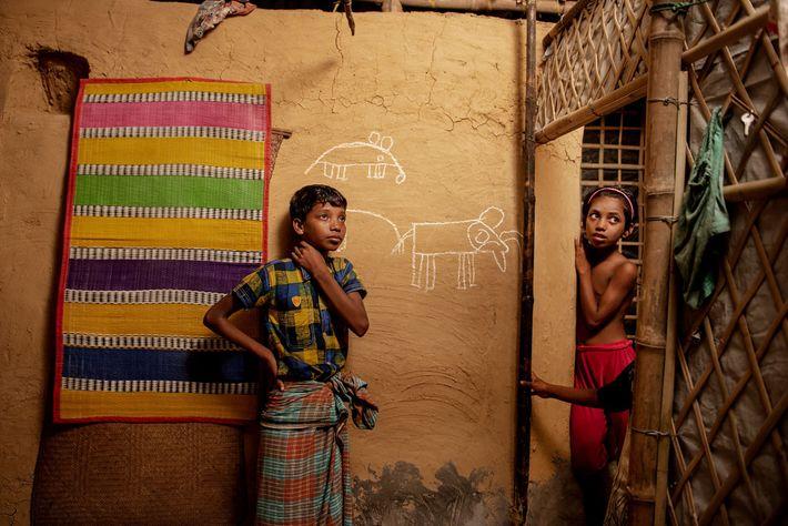 Mohammed Riaz, 13, parado ao lado de um desenho de elefantes que ele fez na parede ...