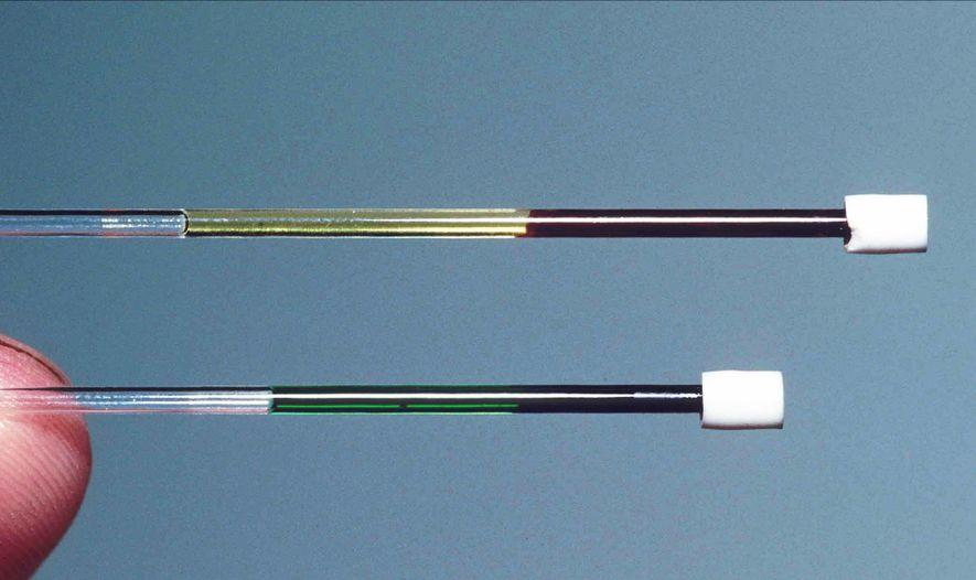 O sangue do lagarto (abaixo) comparado ao sangue vermelho (acima).