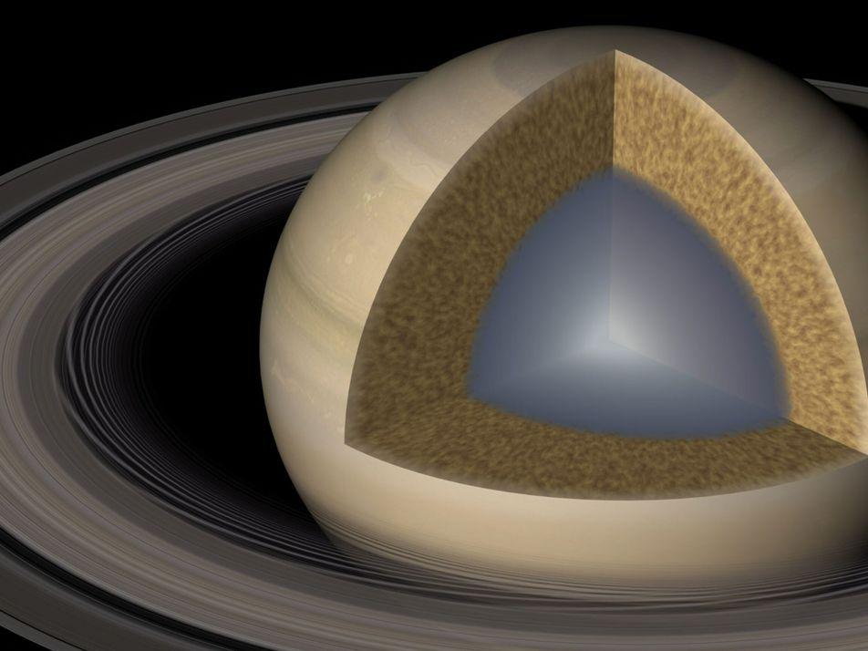 Ondulações nos anéis de Saturno revelam o núcleo gigante e pastoso do planeta
