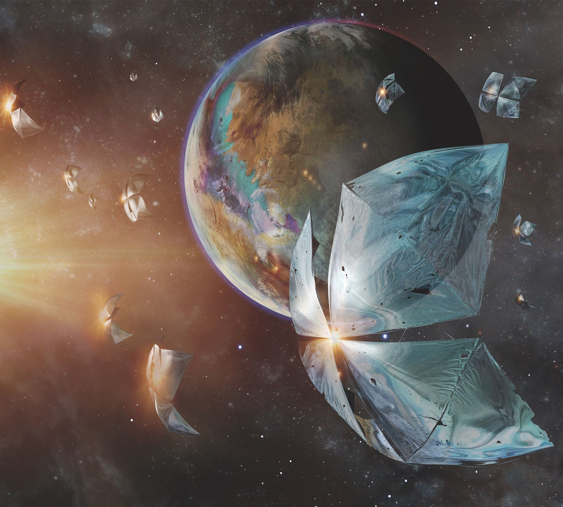 Uma pequena espaçonave acelera em direção ao planeta Proxima Centauri b em uma ilustração do projeto ...