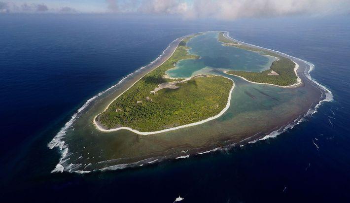 Centro de pesquisa de Ballard Ilha Nikumaroro, um atol desabitado que faz parte da nação da ...