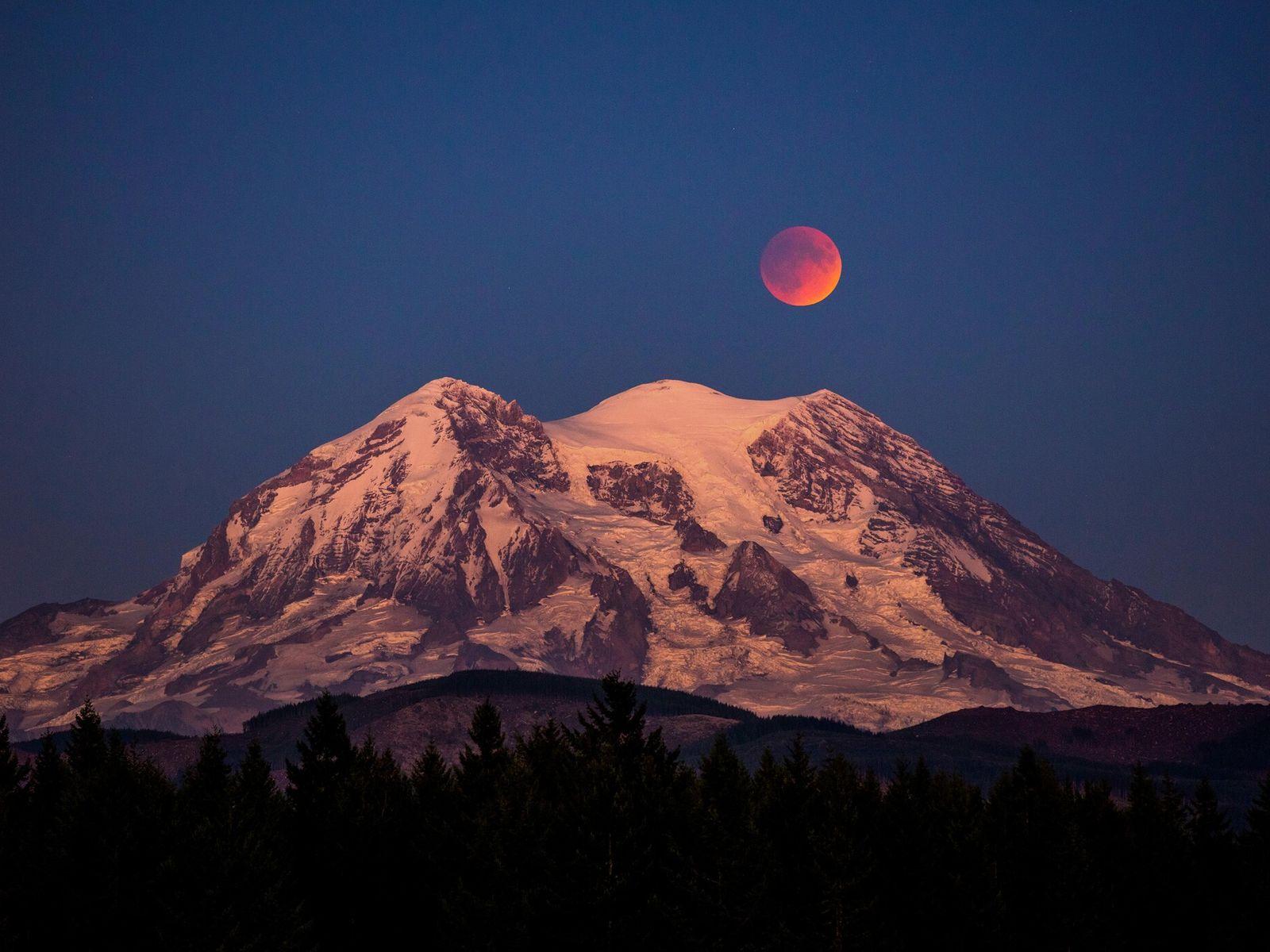 Uma Lua de Sangue, apelido do evento de eclipse lunar total, sobre o monte Rainier, no ...