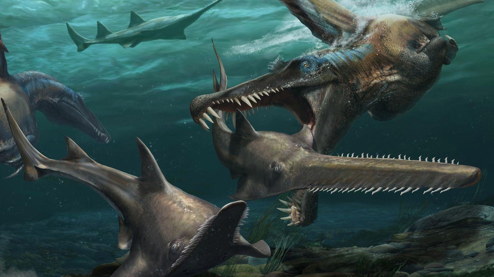 Achados inéditos recentes no Marrocos trazem evidências de que o Spinosaurus passava boa parte do tempo ...
