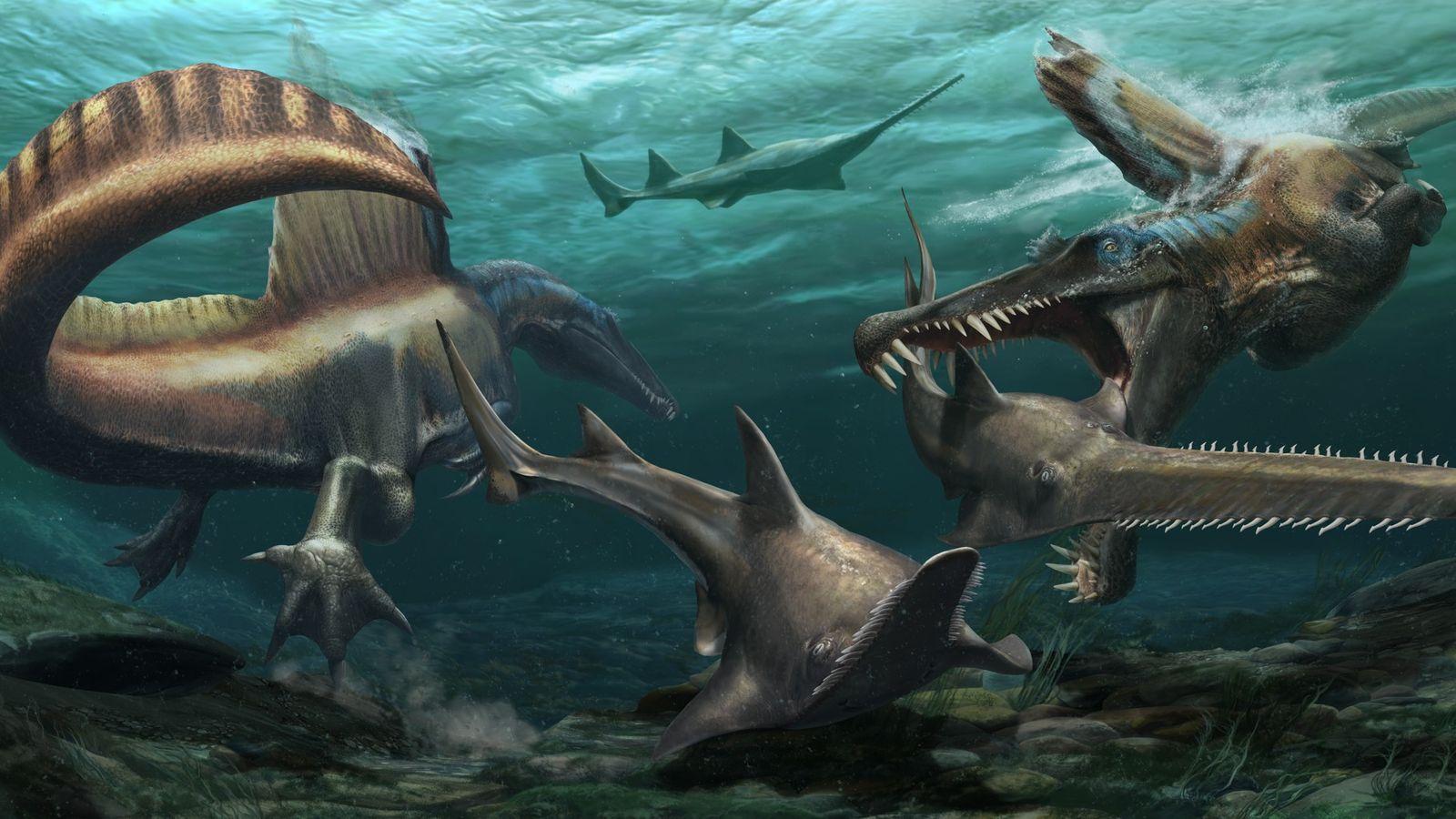 ilustração espinossauros