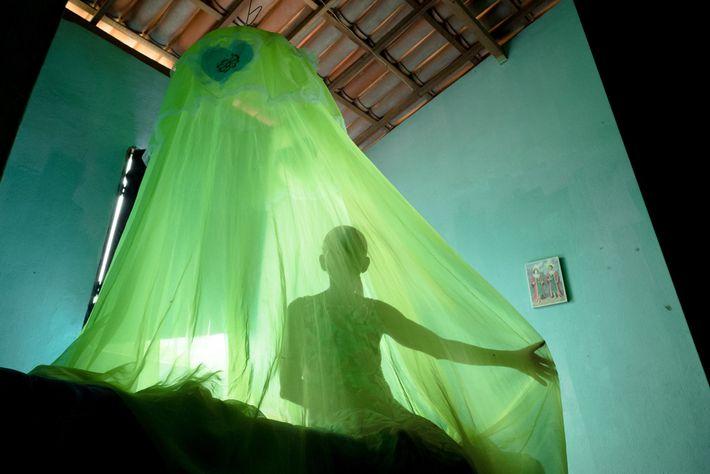 O mosquiteiro verde combina com um pequeno quadro dos santos Cosme e Damião na casa de ...