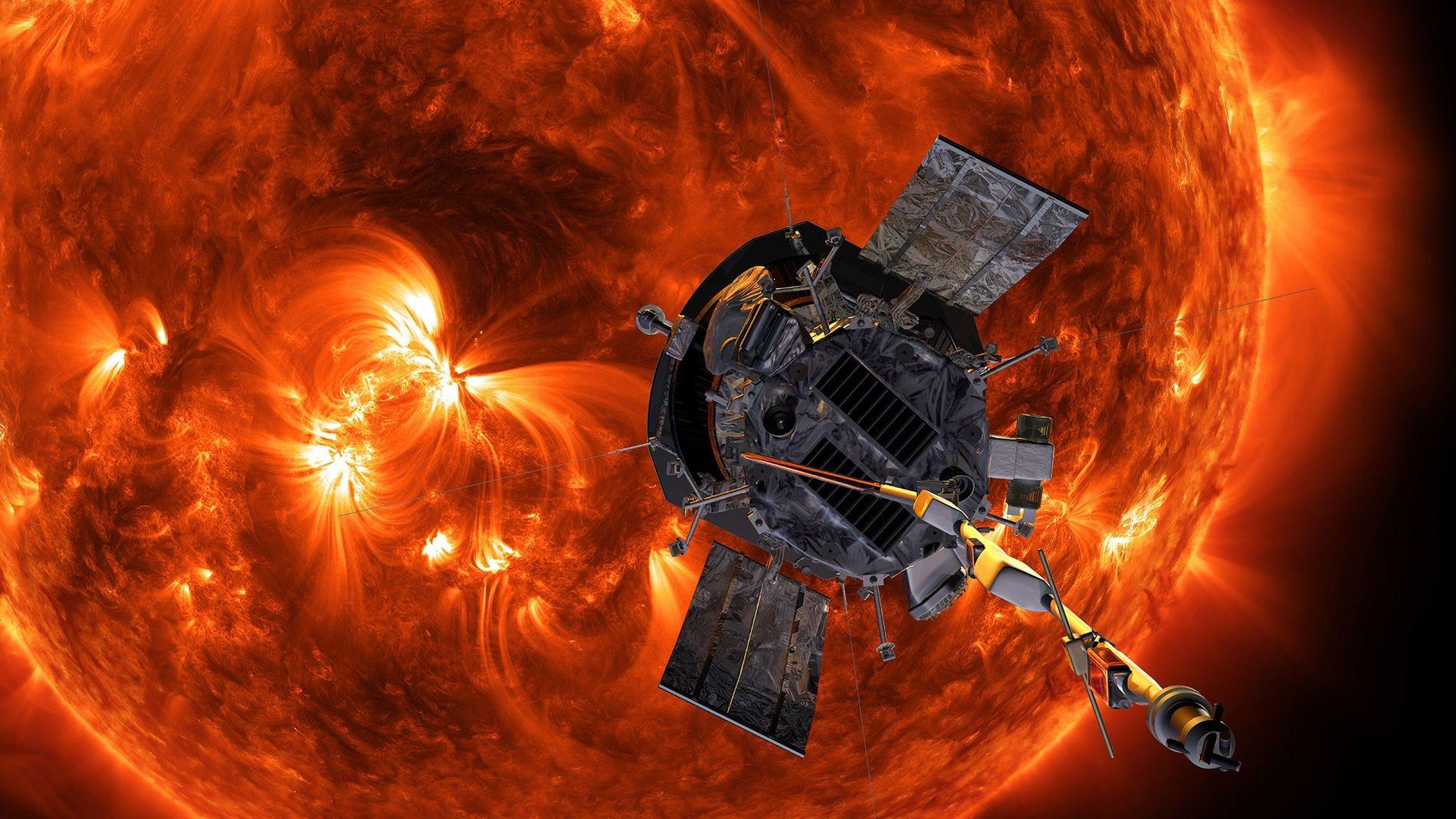 Ilustração exibida pela Sonda Parker Solar da NASA em aproximação ao Sol.