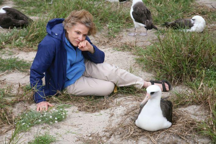 Sylvia Earle, Exploradora Residente da National Geographic, senta-se ao lado de Wisdom na Ilha Sand, parte ...
