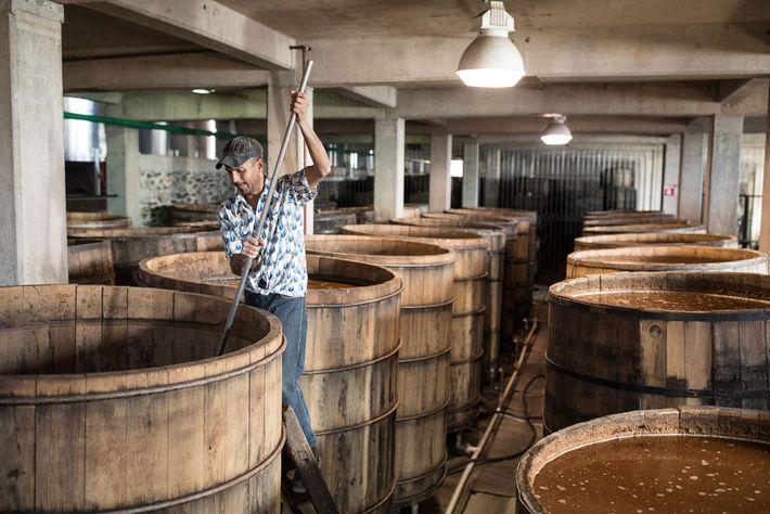 Um funcionário mexe as fibras do agave em tonéis de destilação.