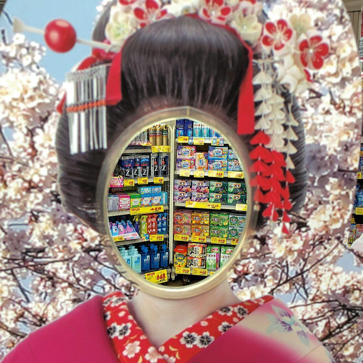 Do lado de fora de uma farmácia de Tóquio, um painel fotográfico de uma aprendiz de ...