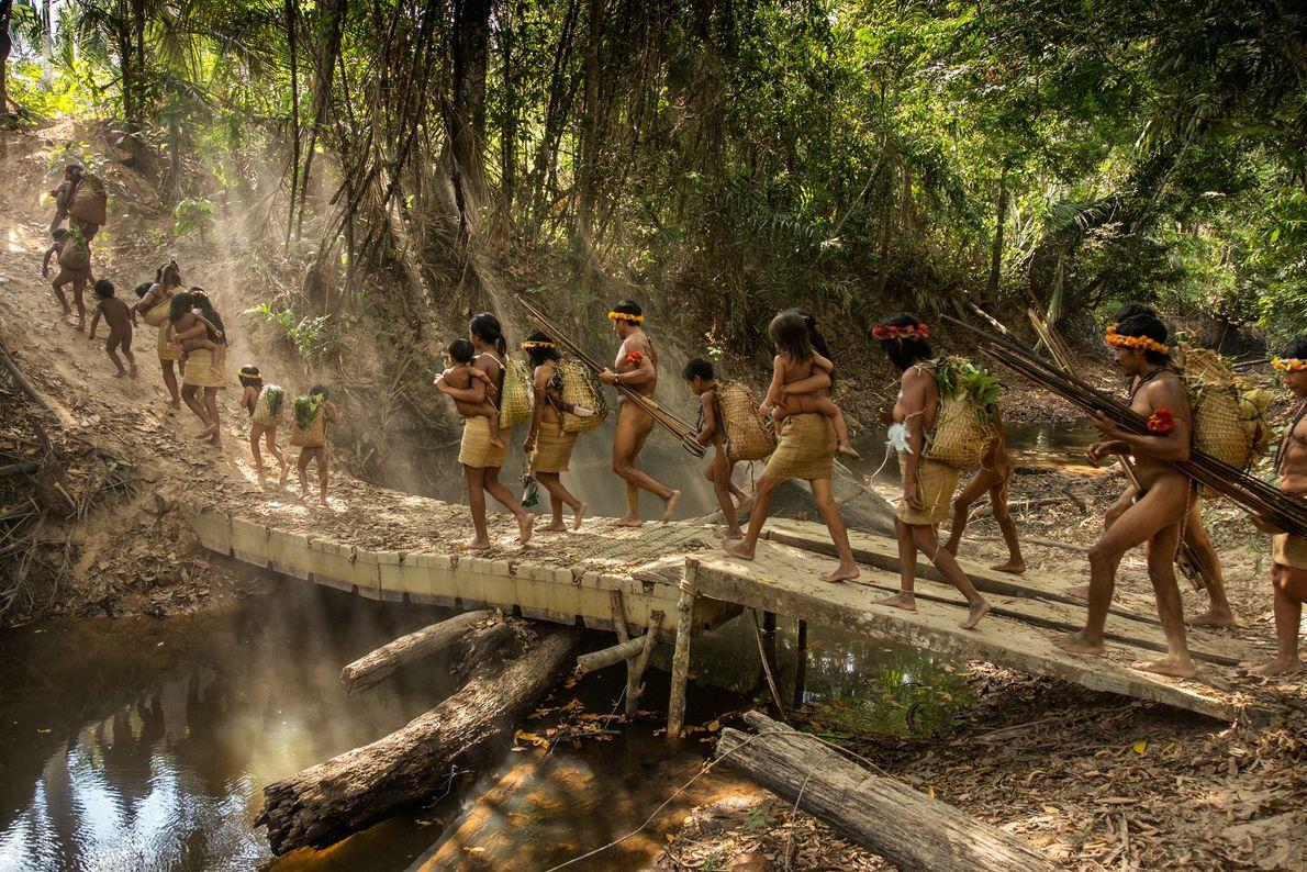 Cinco famílias Awá, do Posto Awá, uma base avançada criada pela agência de assuntos indígenas do ...