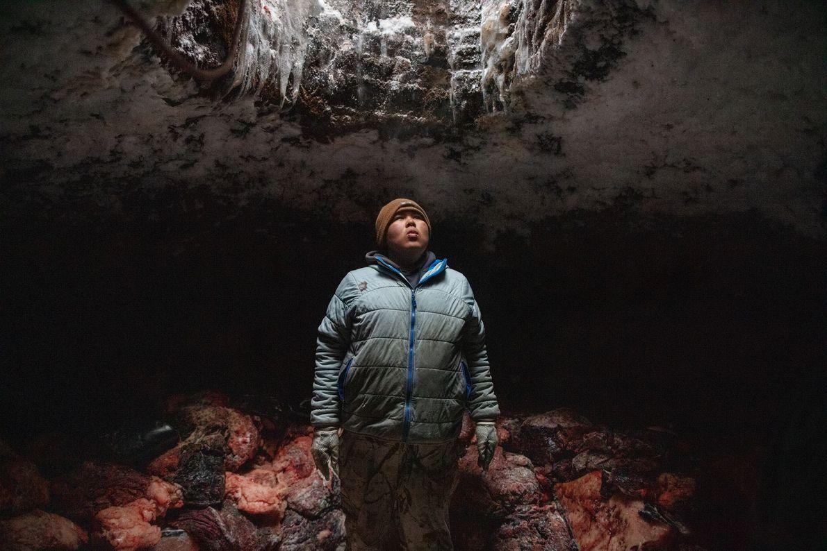 Josiah Olemaun, um jovem baleeiro inupiat em Utqiaġvik (Barrow), no Alasca, descansa após empilhar carne de ...