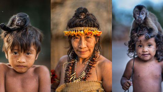 Fotos retratam vínculo entre macacos e humanos