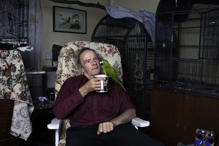 Michael relaxa em sua sala de estar com uma xícara de chá e uma arara recém-adotada ...