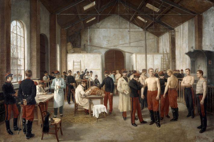 """Obra """"Vaccination"""" (Vacinação) do pintor francês Alfred Touchemolin, por volta de 1895. A pintura retrata recrutas ..."""