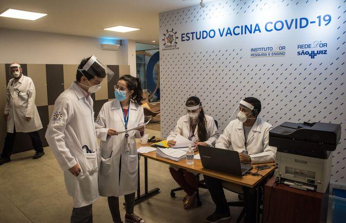 No Brasil, a fase final dos estudos clínicos da vacina candidata ChAdOx1, desenvolvida pela Universidade de ...