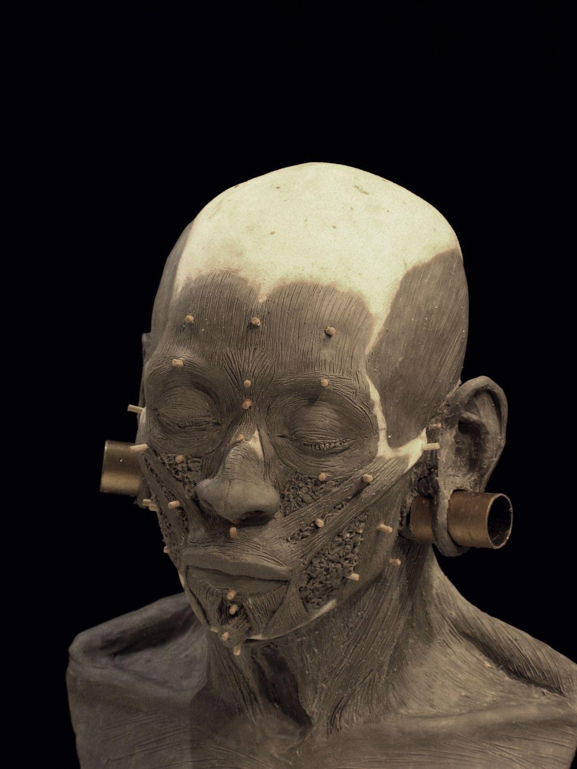 alargadores em molde 3D de antiga rainha peruana