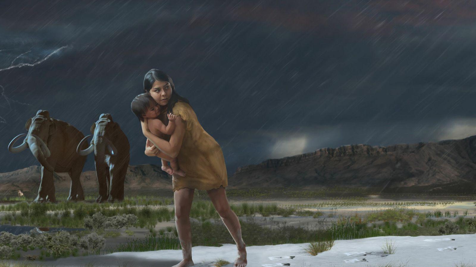 Mais de 10 mil anos atrás, uma mulher ou um homem jovem carregou uma criança por ...
