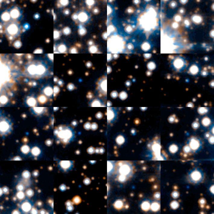 Estrelas anãs brancas capturadas durante uma pesquisa astronômica conduzida pelo telescópio espacial Hubble da Nasa em ...
