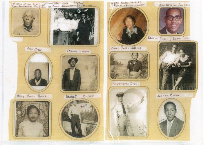 """O retrato de McCrear neste álbum de fotos da família possui a legenda """"Bisavó Tilly Crear"""". ..."""